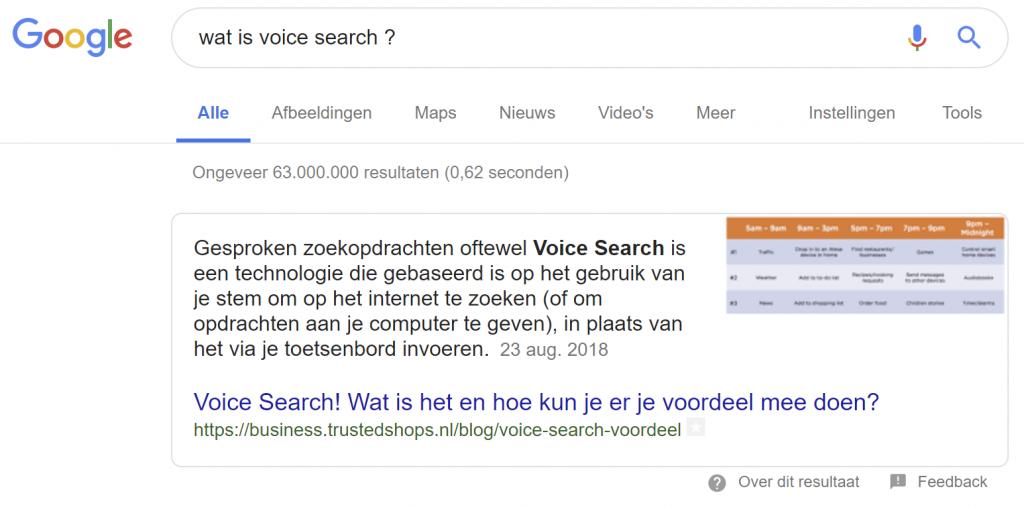 Voice Search - Zoekresultaten in Google